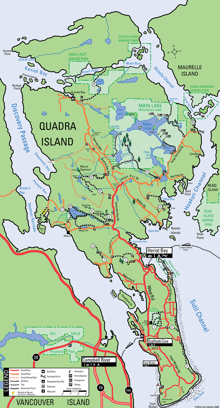 Quadra Island Map Hiking trails on Quadra Island, Discovery Islands, British  Quadra Island Map