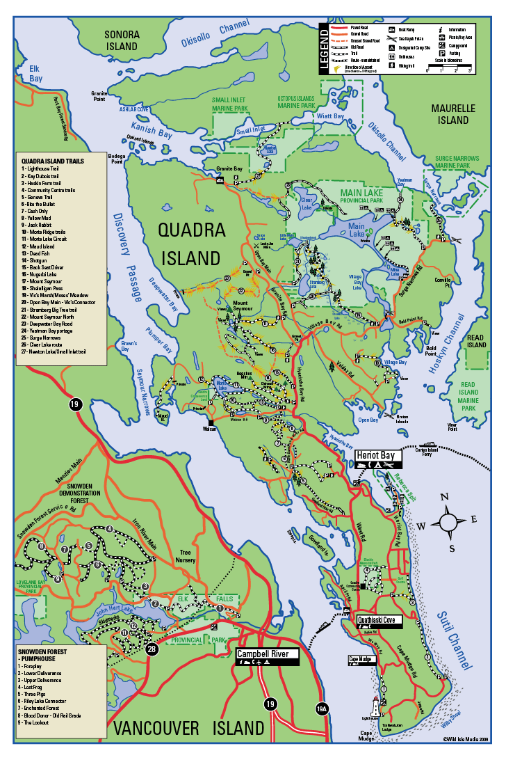 Quadra Island Map Mountain Bike trails on Quadra Island, Discovery Islands, British  Quadra Island Map